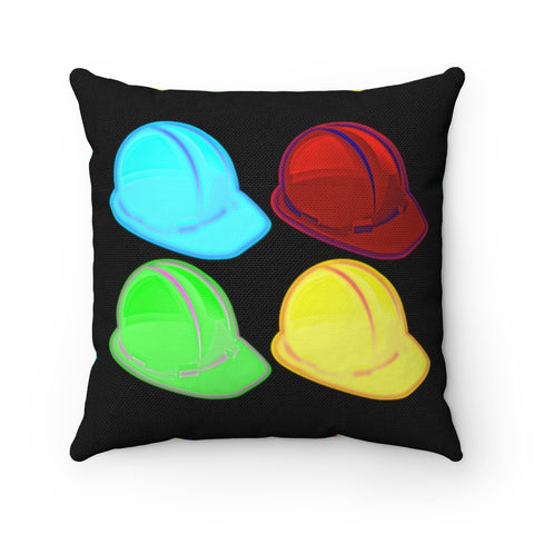 Spun Polyester Square Pillow - Pop Art Hard Hats