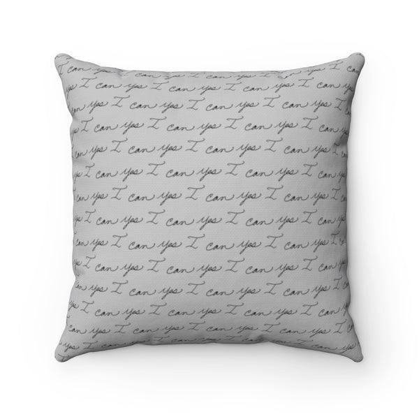 Spun Polyester Square Pillow, Asst. Sizes - Yes I can, Iron Worker