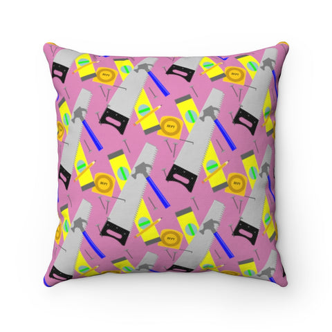 Spun Polyester Square Pillow - Construction Tools, Pink