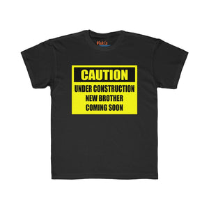 "Kids Regular Fit Tee - ""Caution...new brother"""