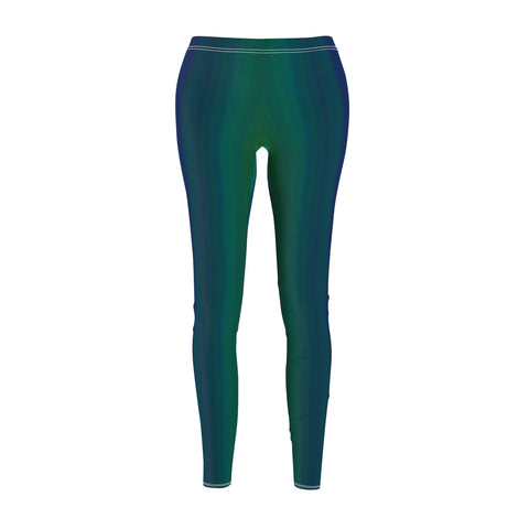 Women's Casual Leggings - Green & Blue Strip Ombre