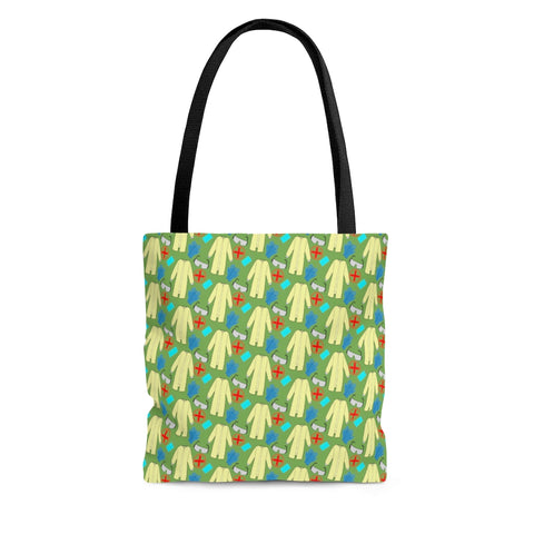 Tote Bag - Medical PPE, Green background
