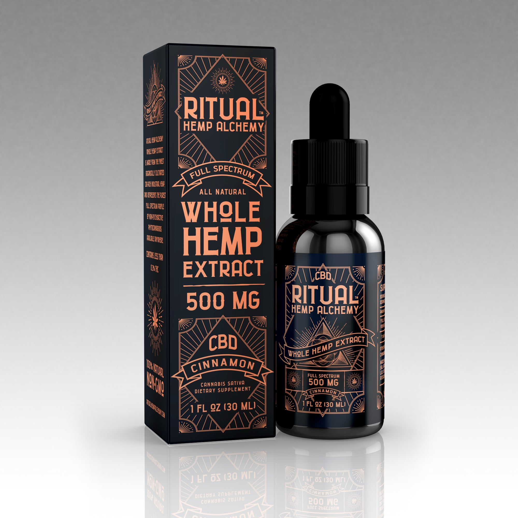 Ritual Hemp Alchemy 500 mg Whole Hemp Extract Tincture, Cinnamon (24 Units)