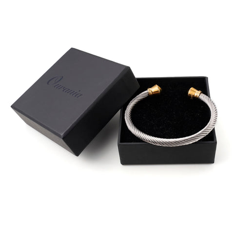 Image of Stainless Steel Nylon Cuff Men Gold Decoration Bracelet - Ouraniastore