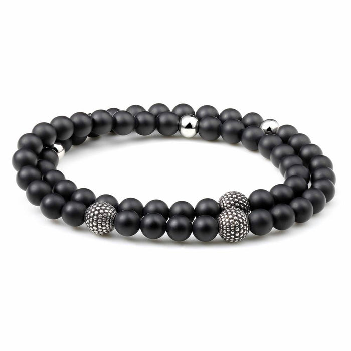 Classics Stainless Steel Charm With 4mm Matt Black Onyx Bead Stretch Bracelet - Ouraniastore