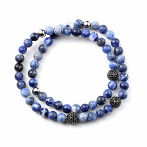 4mm Blue dumortierite Stone Double Wrap Bead Stretch Bracelet - Ouraniastore