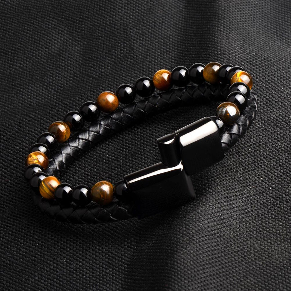 Men Jewelry Natural Stone Bead Genuine Leather Stainless Steel Magnetic Clasp Bracelet - Ouraniastore