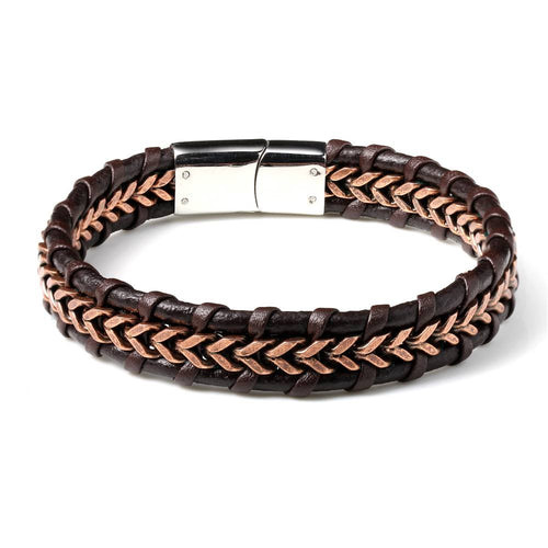 Antique Rose Gold Chain Genuine Brown Leather Clip Bracelet - Ouraniastore