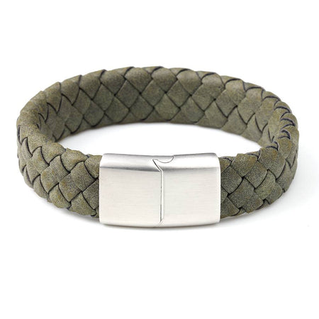 Genuine Leather Braid  With Stianless Steel Clip Bracelet - Ouraniastore
