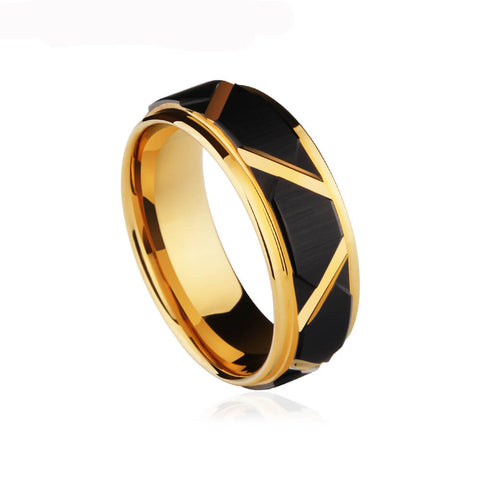 Black Torqued Faceted Tungsten Ring In Gold - Ouraniastore