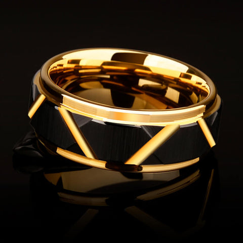 Image of Black Torqued Faceted Tungsten Ring In Gold - Ouraniastore