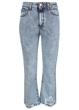Denim mid rise cropped flare