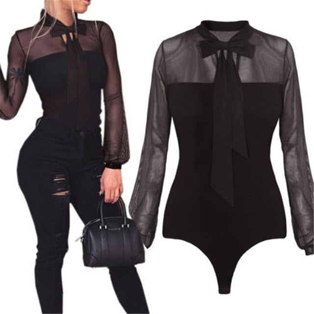 Women Summer Bodysuit Bow Black Mock Neck