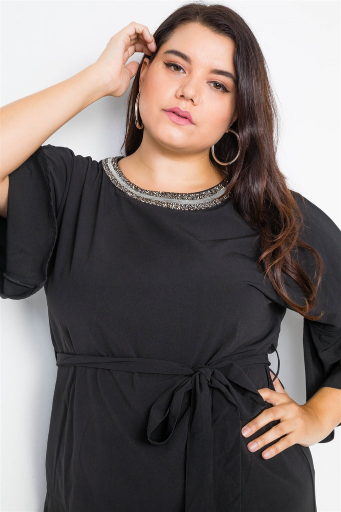 Plus Size Black Beaded Neckline Mini Dress