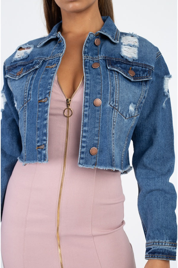 Distressed Frayed Denim Jacket