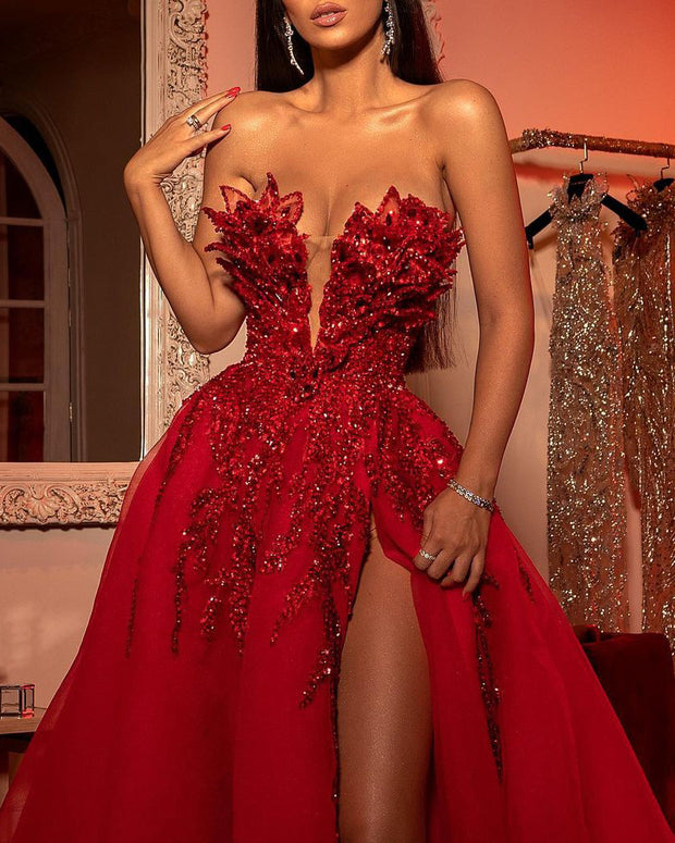 Off-the-shoulder Sequined Mesh Evening Gown