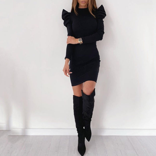 Puff Sleeve Solid Color Slim Knitted Dress