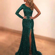 Long-sleeved One-shoulder Sequined Split Evening Dress