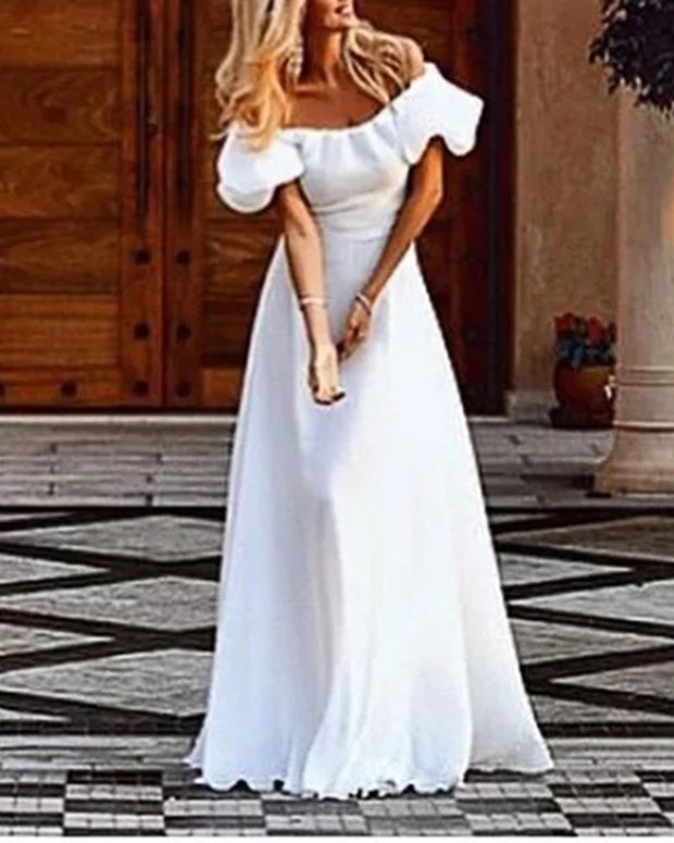 Sexy Off-the-shoulder Pure White Evening Maxi Dress