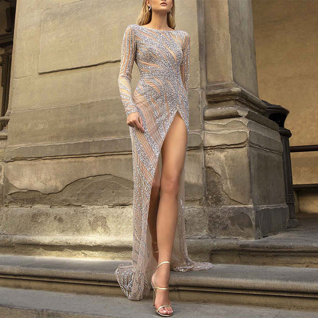 Sexy Sequined High Slit Long Sleeve Round Neck Evening Dress