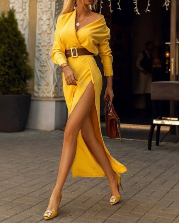 Fashion Sexy Slit Solid Color Dress