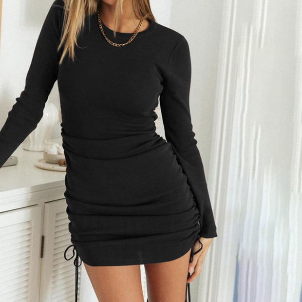 Autumn And Winter Fashion Round Neck Pleated Drawstring Tight Long Sleeve Dress