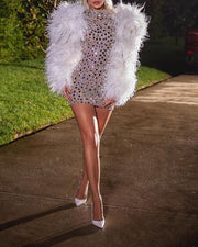 Sequined Feather Long Sleeve Mini Evening Dress