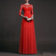 Long Sleeve Lace Perspective Evening Dress