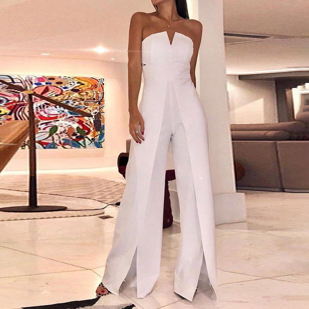 Sexy Sleeveless Solid Color Wide Leg Jumpsuit