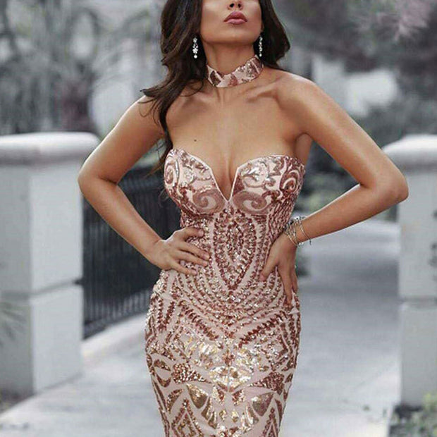 Fashion Sexy Sequined Deep V Sleeveless Dress