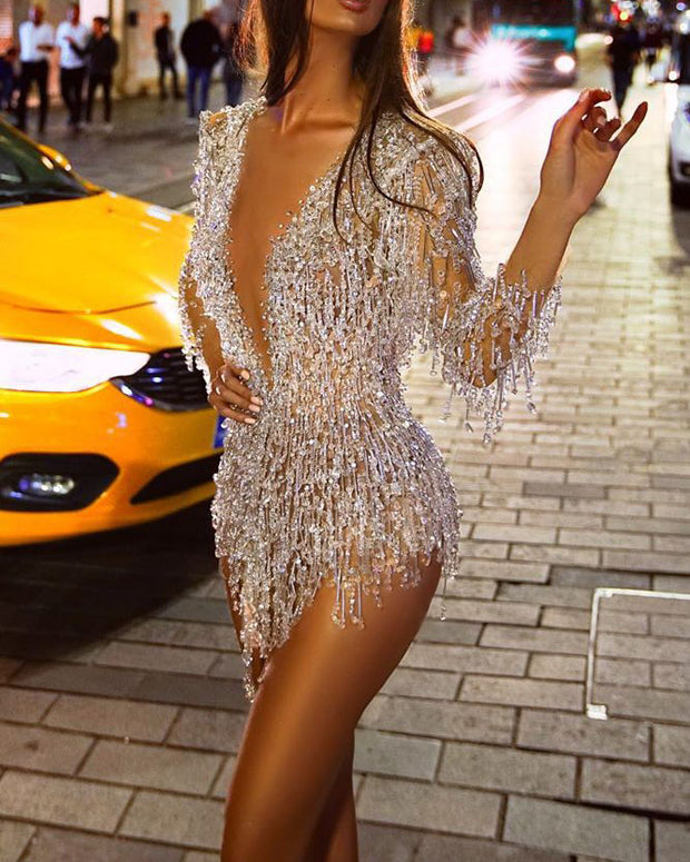 Fringed Sequined Long Sleeve Mini Evening Dress
