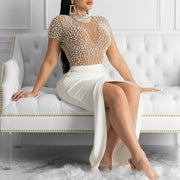 Pearl Split Wrapped Evening Dress