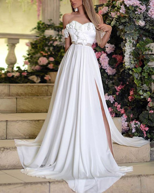 New Fashion Sexy Pure White Evening Maxi Dress
