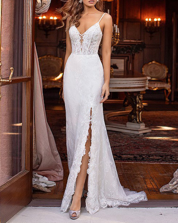 Suspender Lace Maxi Wedding Evening Dress
