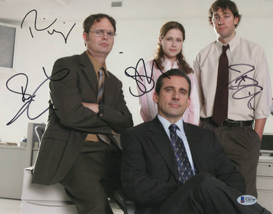 Steve Carell, John Krasinski, Rainn Wilson & Jenna Fischer Authentic Autographed 11x14 Photo