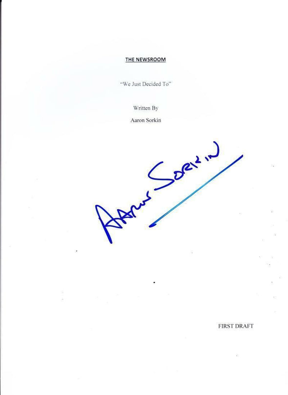 Aaron Sorkin Authentic Autographed 'Newsroom' Script - Prime Time Signatures - TV & Film