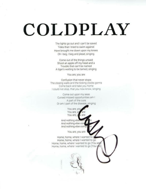 Chris Martin of Coldplay Authentic Autographed Clocks' Lyric Sheet - Prime Time Signatures - Music