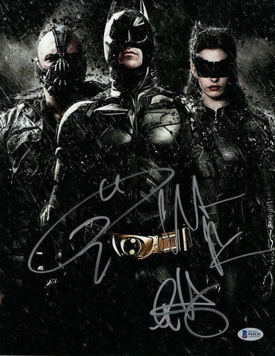 Christian Bale, Tom Hardy & Anne Hathaway Authentic Autographed 11x14 Photo - Prime Time Signatures - TV & Film