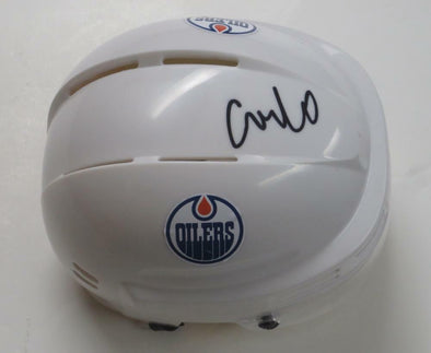 Connor McDavid Authentic Autographed Oilers White Mini Helmet - Prime Time Signatures - Sports
