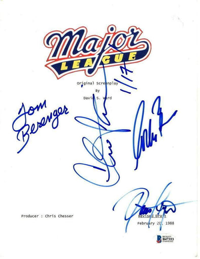 Corbin Bernsen, Tom Berenger, Charlie Sheen, Dennis Haysbert Authentic Autographed 'Major League' Script - Prime Time Signatures - TV & Film