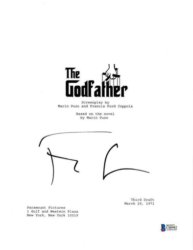 Francis Ford Coppola Authentic Autographed 'The Godfather' Script - Prime Time Signatures - TV & Film