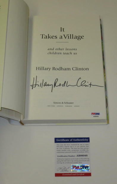 Hillary Clinton Authentic Autographed It Takes A Village Hardcover Book - Prime Time Signatures - Politics