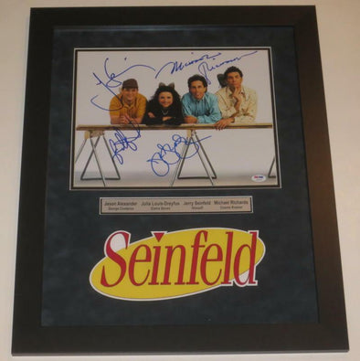 Jerry Seinfeld, Jason Alexander, Julia Louis-Dreyfus, Michael Richards Authentic Autographed 11x14 Photo - Prime Time Signatures - TV & Film