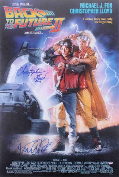 Michael J Fox & Christopher Lloyd Authentic Autographed Full Size Poster - Prime Time Signatures - TV & Film
