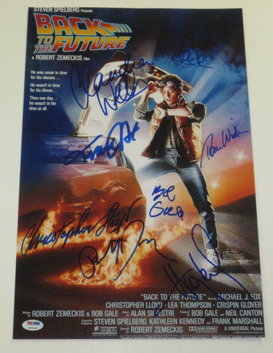 Michael J Fox, Christopher Lloyd, Claudia Wells, Lea Thompson, Tom Wilson, Huey Lewis, Robert Zemiciks, Bob Gale Authentic Autographed Full Size Poster - Prime Time Signatures - TV & Film