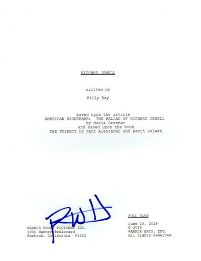 Paul Walter Hauser Authentic Autographed 'Richard Jewell' Script - Prime Time Signatures - TV & Film