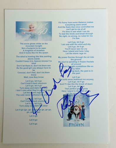 Robert Lopez, Kristen Anderson-Lopez Authentic Autographed Frozen 'Let It Go' Lyric Sheet - Prime Time Signatures - TV & Film