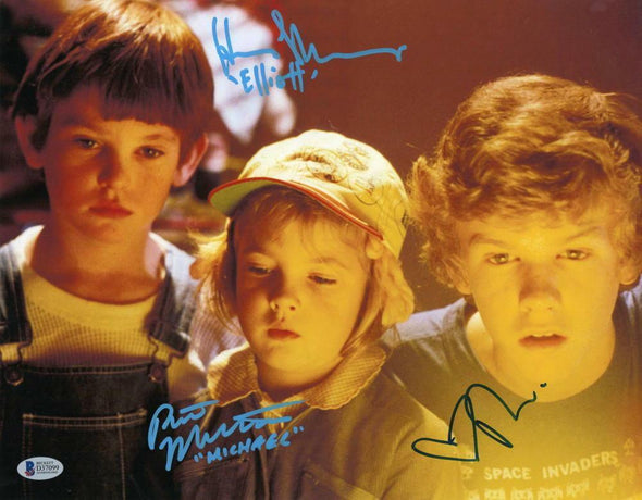 Robert MacNaughton, Drew Barrymore, Henry Thomas Authentic Autographed 11x14 Photo - Prime Time Signatures - TV & Film