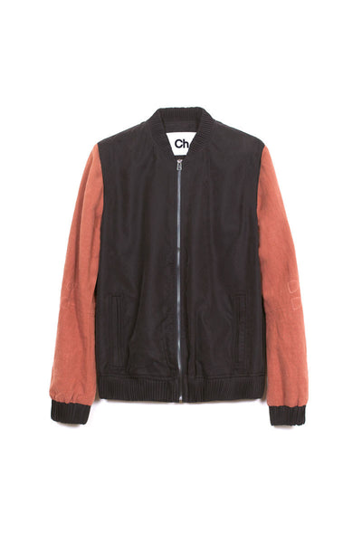 Chapter Contrast Sleeve Bomber Jacket in Black and Rust