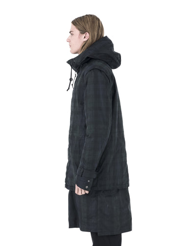 Agoto Hooded Coat - Black/Blue Check